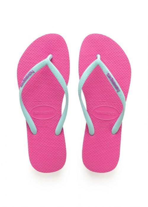 HAVAIANAS WOMENS FLIP FLOPS.NEW SLIM LOGO WATER RESISTANT PINK THONGS 9S 87 2397